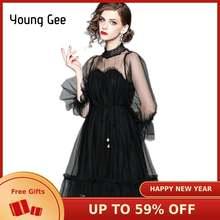 Женское кружевное платье young gee элегантное свободное Сетчатое
