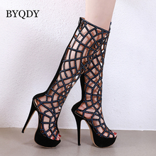 BYQDY Sexy Bling Glitter Over Knee Long Boot Woman Rhinestone Crystal Hollow High Boots Platform botas For Girlfriend