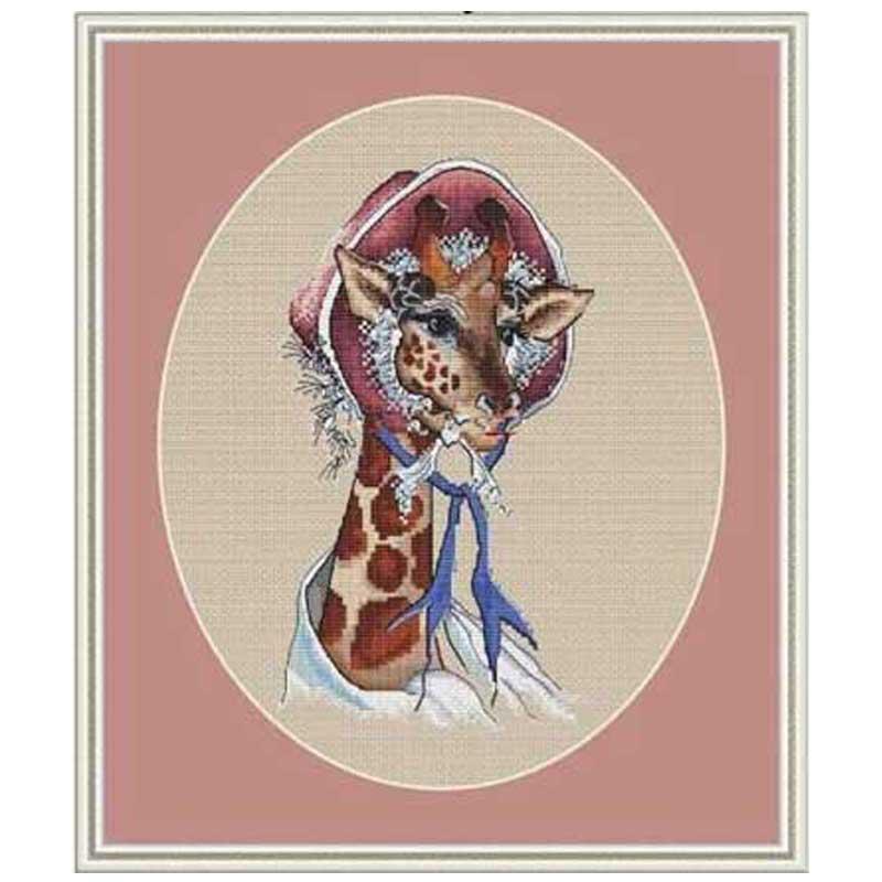 Бабушка с оленем в тюрбане счетная вышивка крестиком 11ct 14ct