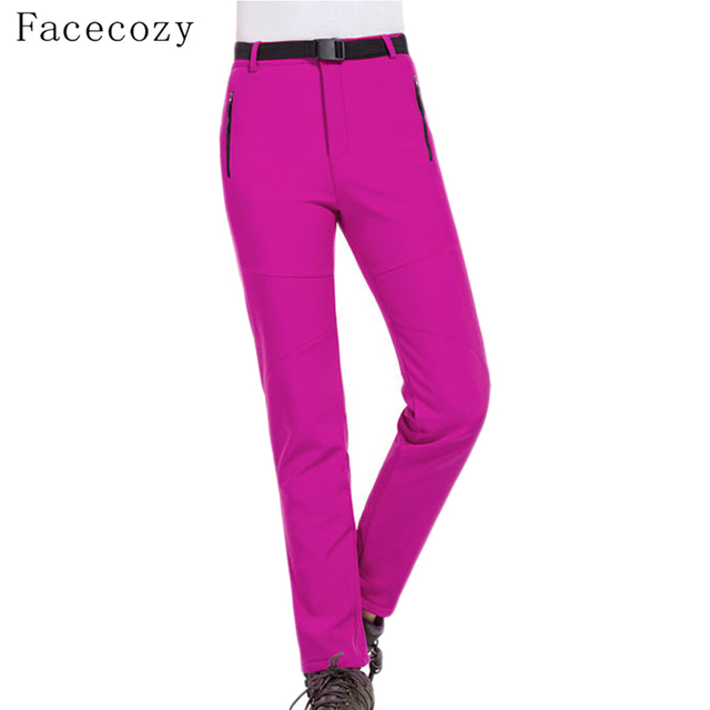 Facecozy 2019 נשים חורף צמר טיולי קמפינג חם מכנסיים חיצוני Windproof עמיד למים מכנסיים עבור טרקים סקי Pantolon