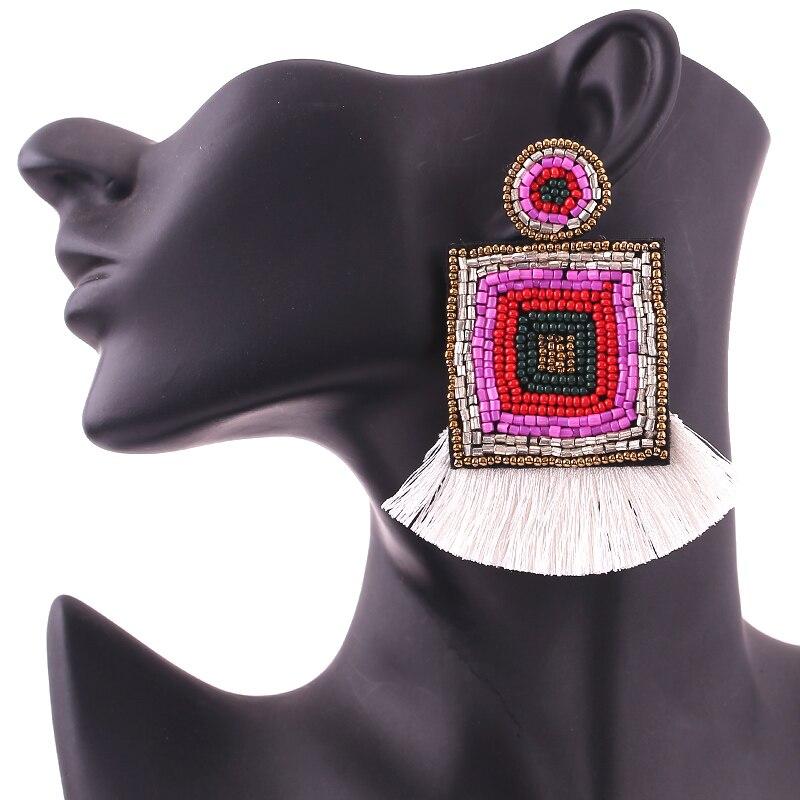 2019 Bohemian Handmade Beads Big Eye Tassel Drop Earrings For Women Wedding Trendy Girls Party Gift Statement Earrings Zara