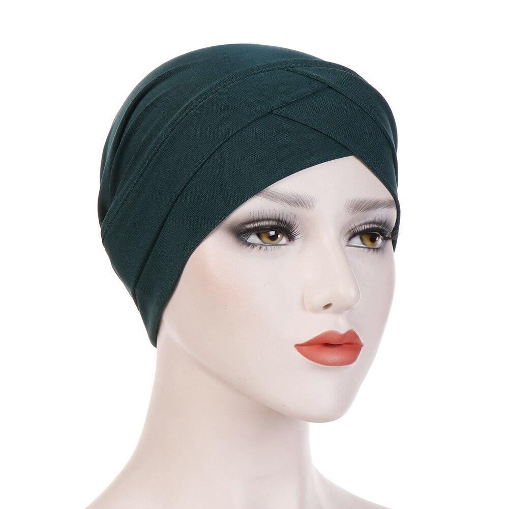 Boêmio hijab boné feminino elástico hijab lenço de algodão cruz muçulmano hijab lenço turbante chapéus muçulmano cachecol crinkle bonés novo