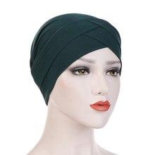 Chapeaux Hijab style bohème pour femmes, écharpe en coton extensible, croisé, musulman, Turban, nouvelle collection