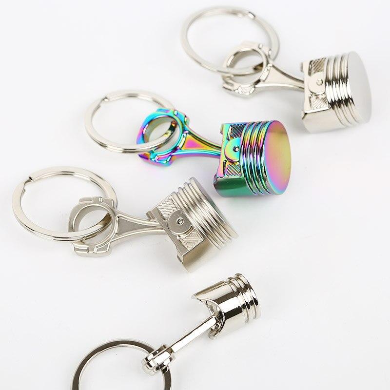 Porte-clés à Piston de moteur   Moteur, chaîne porte-clés porte-clés porte-clés, gros porte-clés, argent chromé mat couleur arc-en-ciel petite grande taille livraison directe