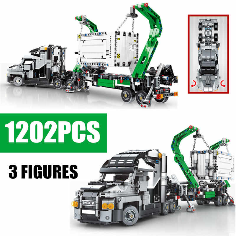 New MOC Engineering City Construction Container Truck Fit Legoings Technic Building Blocks Toy Bricks Toys for Children Kid Gift
