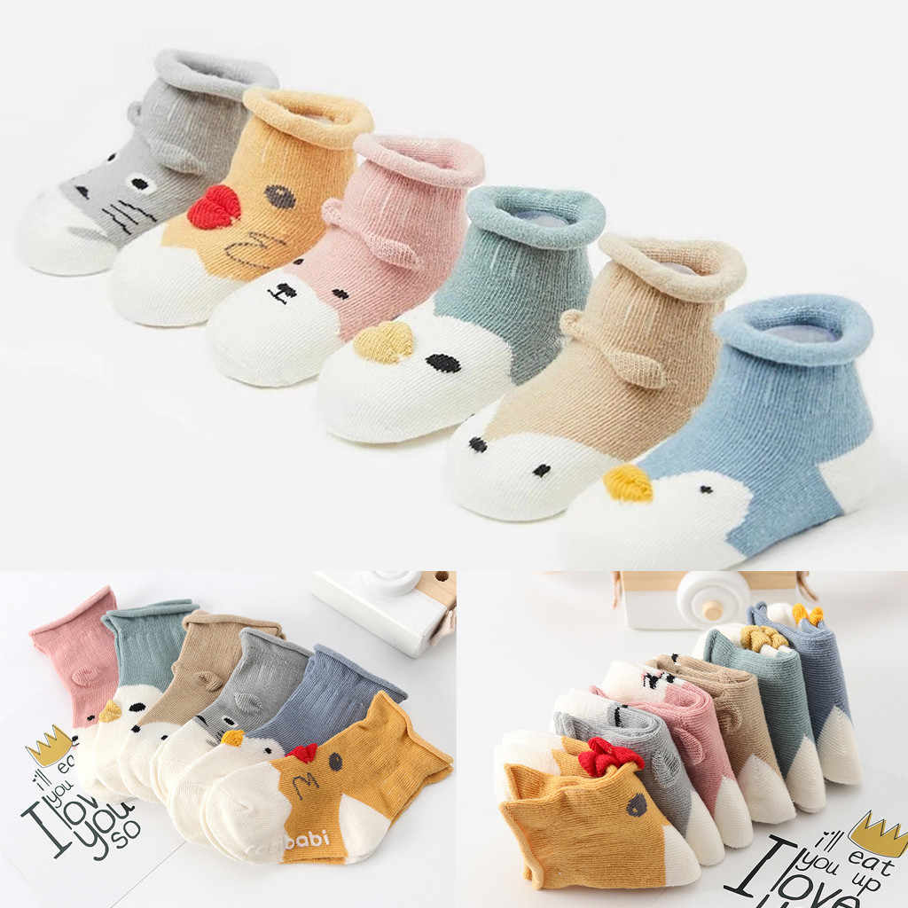 Kids Toddler Baby Girls Boys Cartoon Animal Thick Warm Anti-Slip Socks Slippers Kids Infant  Knitted Warm Socks 0-18 Months