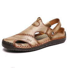 Summer sandals men's leather classic Roman slippers outdoor sports shoes beach rubber flip flops hiking large size 48 sandals