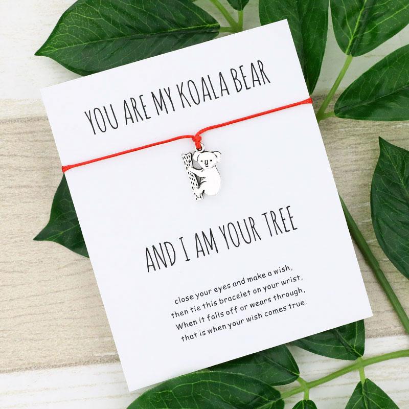 Счастливый коала браслет желаний, милый коала, шарм, желаю карты, браслеты, коала, ювелирные изделия для женщин, мужчин, лучший друг, подарки