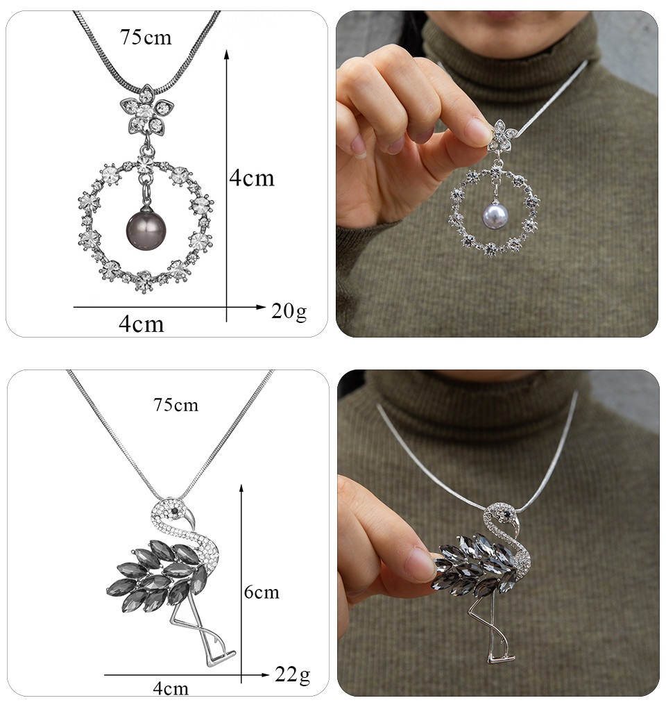 Simple Sweater Coat Necklaces Ladies Girls Long Black Leaf Natural Peacock Feather Crystal Pendant Necklaces for Women Jewelry  (126)