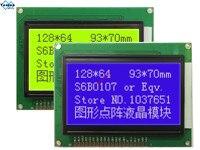 Yuxian 12864 12864A lcd 디스플레이 모듈 플라스틱 STN 파란색 5v 그래픽 KS0108 WH12864A 크기 93*70mm 무료 배송 1pcs