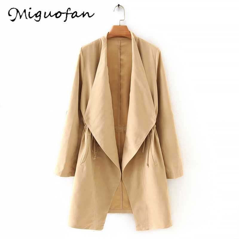 Miguofan ผู้หญิง Cardgians Solid Trench เปิด Stitch drawstring ยาวแขนหญิง Casual outwear Coat Tops Trench