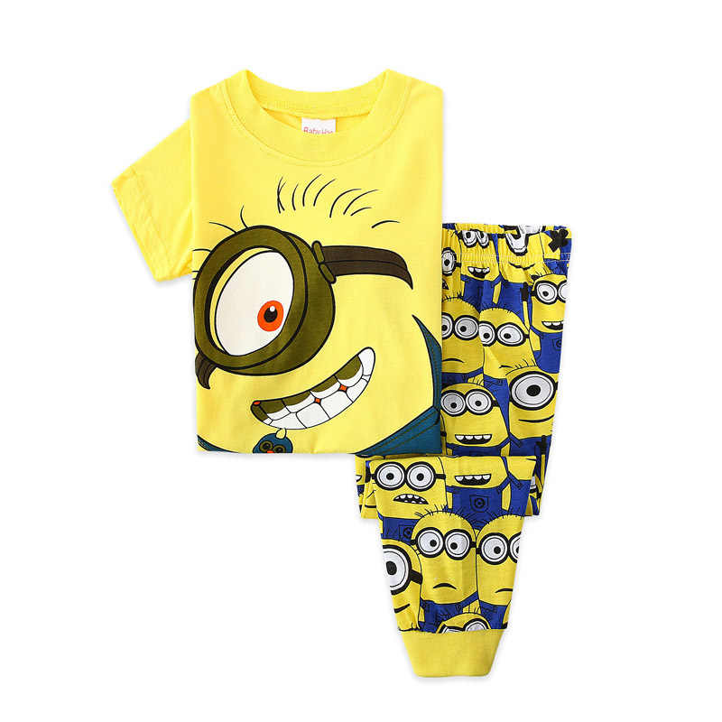 코튼 어린이 여름 짧은 소매 잠옷 아이 새 옷 유아 잠옷 소년 아기 잠옷 미니언 만화 노란색 2-7y