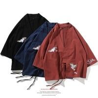 2019 kimono japanese kimono mujer yukata men Samurai Crane kimono pajamas Japanese Streetwear Mens Kimono Jacket