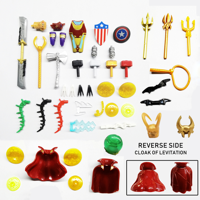 10Pcs Lot Marvel Series Weapon Parts Set Armas Rare Accessories Compatible Action Figures Building Blocks Kids