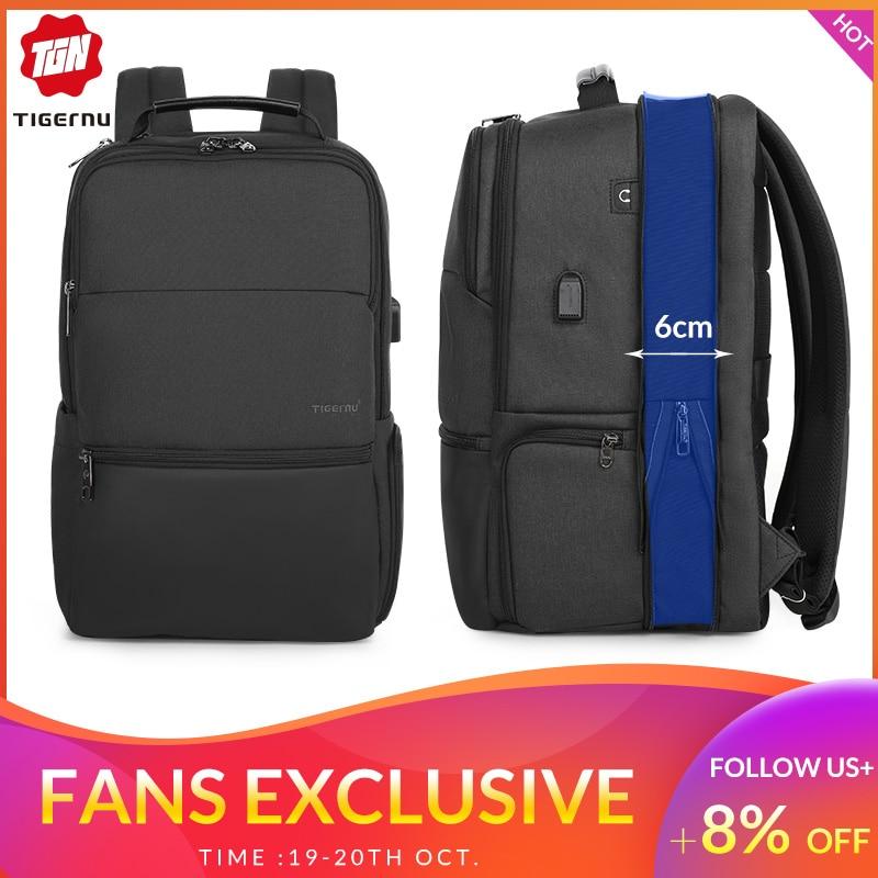 Tigernu sac à dos extensible hommes pour 15.6-19 pouces ordinateur portable/ordinateur sacs à dos avec RFID et USB charge Anti-vol Mochila mâle nouveau