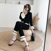 Women Autumn Knit Flare Sleeve Cardigans Loose Pleated Hem Pants Sets V Neck Single Breasted Knitted Tops Ankle-Length Pant Suit