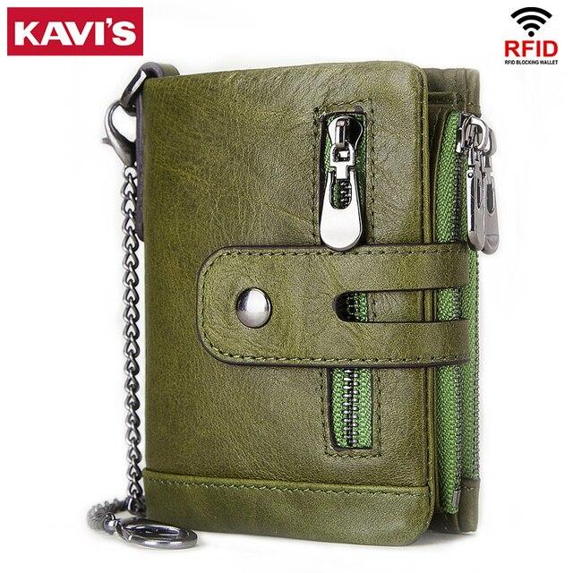 KAVIS 100% ของแท้ Cowhide หนังผู้หญิงกระเป๋าสตางค์หญิง PORTFOLIO Portemonnee กระเป๋าเหรียญขนาดเล็ก Walet กระเป๋าแฟชั่น