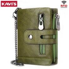 KAVIS 100% 정품 쇠가죽 채찍으로 치다 가죽 여성 지갑 여성 지갑 포트폴리오 Portomonee 동전 가방 패션에 대한 작은 미니 Walet 포켓