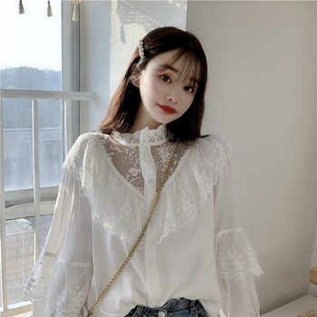 Autumn Korean Sweet Loose Clothes Lace Up Ruffled Women Blouses Fashion Stand Collat Ladies Tops Vintage Lace Shirts Women 11335 2