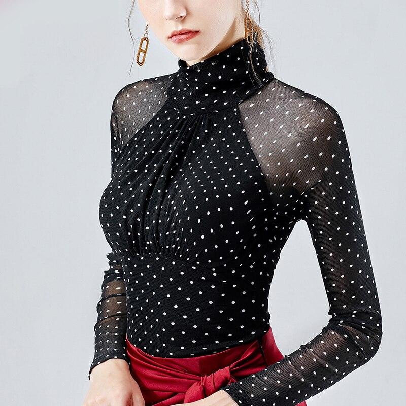 Latin Dance Top Women Long Sleeve Black Mesh Sleeves Shirts Female Adult Rumba Cha Cha Samba Tango Salsa Performance Wear DN4388