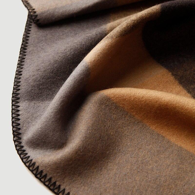 Чистое 100% шерстяное Клетчатое одеяло утяжеленное плотное высококачественное одеяло для пикника и путешествий Клетчатое одеяло с узором для кровати и дивана - 5