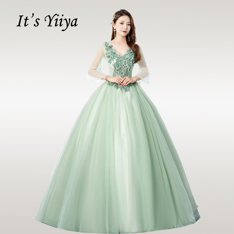 It's YiiYa Wedding Dress Appliques Beading Green Plus Size Wedding Dresses Elegant Flare Sleeve Green Lace Robe De Mariee CH098