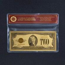 WR поддельные деньги США 100 долларов Золотая фольга Банкнота с Coa рамкой Америка 2 доллара красочная банкнота реквизит деньги креативный пода...