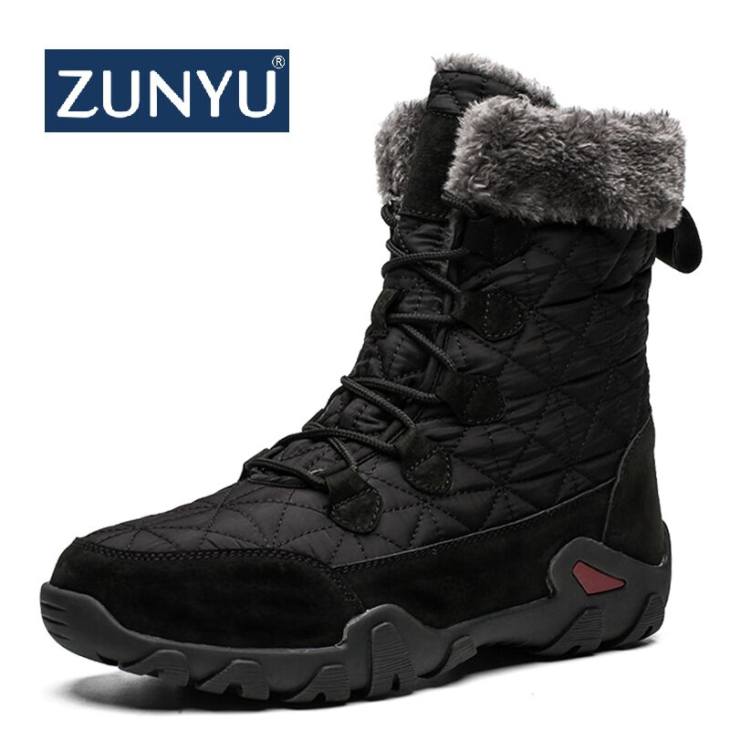 ZUNYU New Leather Men Boots Winter Shoes Men Waterproof Snow Boots With Warm Plush Winter Footwear Male Casual Boot Sneakers