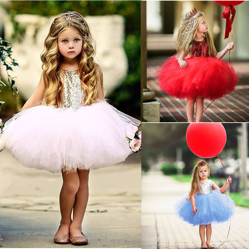 <font><b>Princess</b></font> Girl Baby Fancy Wedding <font><b>Dress</b></font> Sleeveless Sequins <font><b>Party</b></font> Kids <font><b>Dresses</b></font> For Girls Tutu Tulle Back Hollow Out Formal Costume image