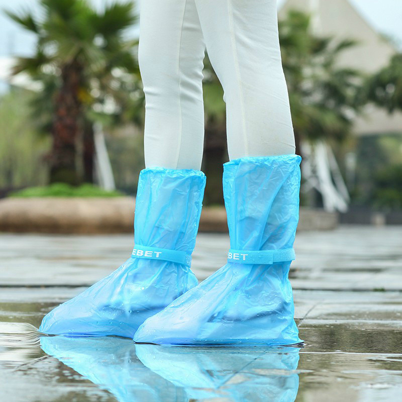 1Pair Outdoor Waterproof  Reusable Thicken Protector  High-Top Anti-Slip Shoes Boot Cover Unisex Ribbon Rain Shoe Covers Rain