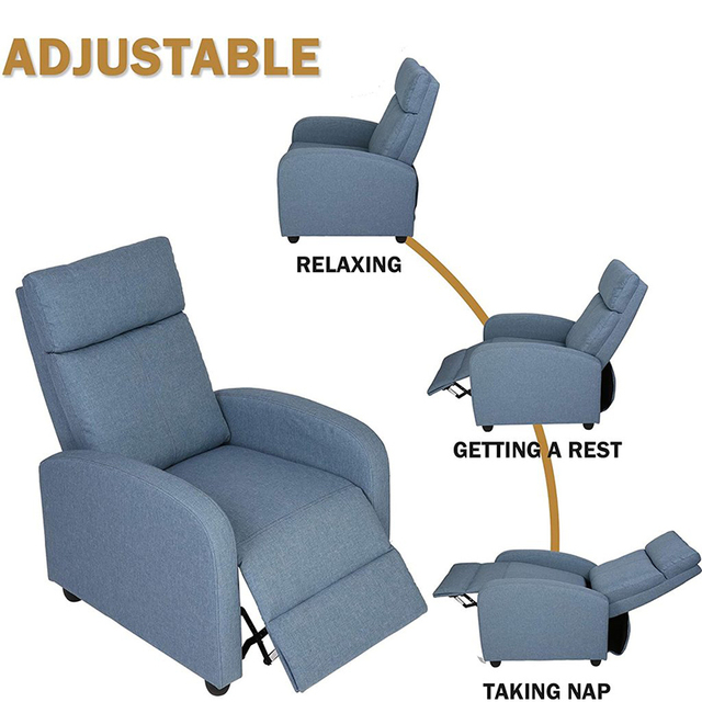 Fabric Recliner Chair Adjustable Single Sofa Home Theater Seating Recliner Reading Sofa for Living Room & Bedroom Red Gray Blue 5