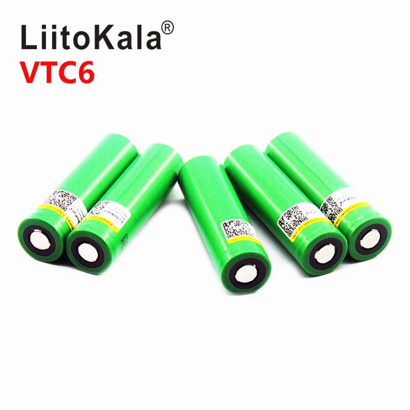 LiitoKala 100% Original 18650 Lithium Ion Rechargeable Battery Vtc6 3000mAh 3.7V High Power Discharge Flashlight Battery