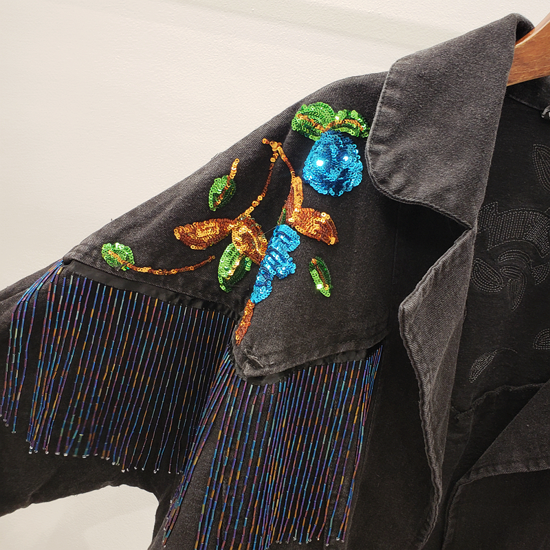 2020 New Spring Autumn Streetwear Sytle Black Sequins Denim Jacket Woman Korean Casual  Loose Tassel Jean Coat