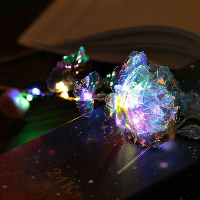 2020 Hot Vàng 24K Viền Hoa Hồng Hoa Màu LED Galaxy Nhân Tạo Hoa Hồng Vĩnh Cửu Hoa Mẹ Của Ngày Lễ Tình Nhân ngày Quà Tặng