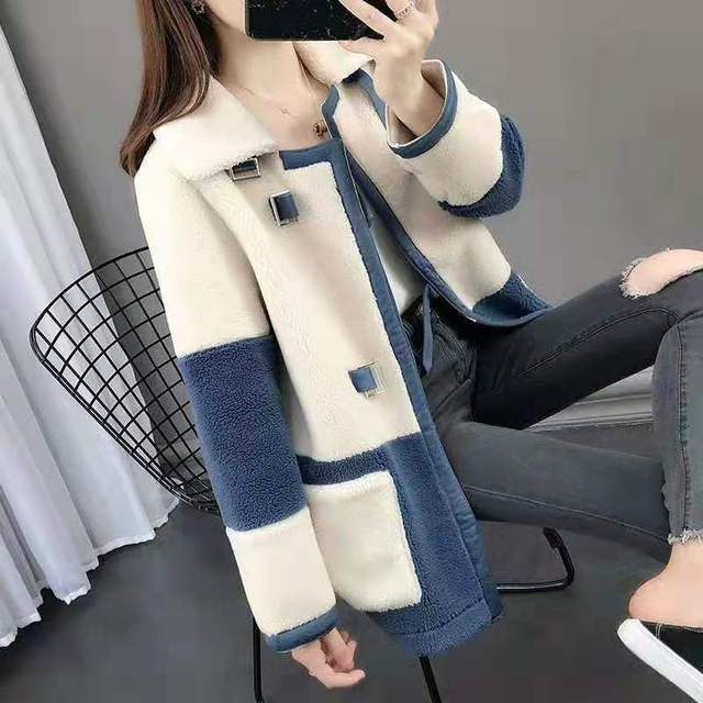 Elegant Faux Fur Coat Women Fashion Autumn Winter Warm Color Fur Jacket Female Plush Coats Casual Outerwear coat female