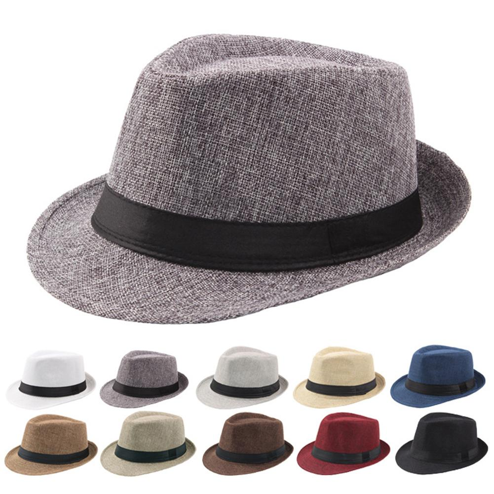 Bowler Hats Cap Fedoras-Top Chapeau Jazz Plaid England Classic-Version Retro Men's Summer title=