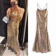 Sncian-vestido estampado de leopardo para mujer, vestido Bandage de satén con forro y Espalda descubierta, Sexy, para fiesta y Club, verano 2021