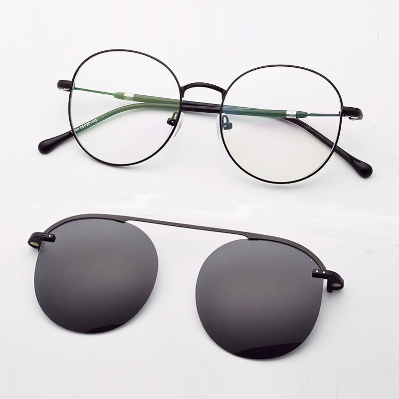 Fashion Round Frame Glasses Male Gold With Magnet Polarized Sunglasses Set Mirror Ultra Light Silver Eyeglasses