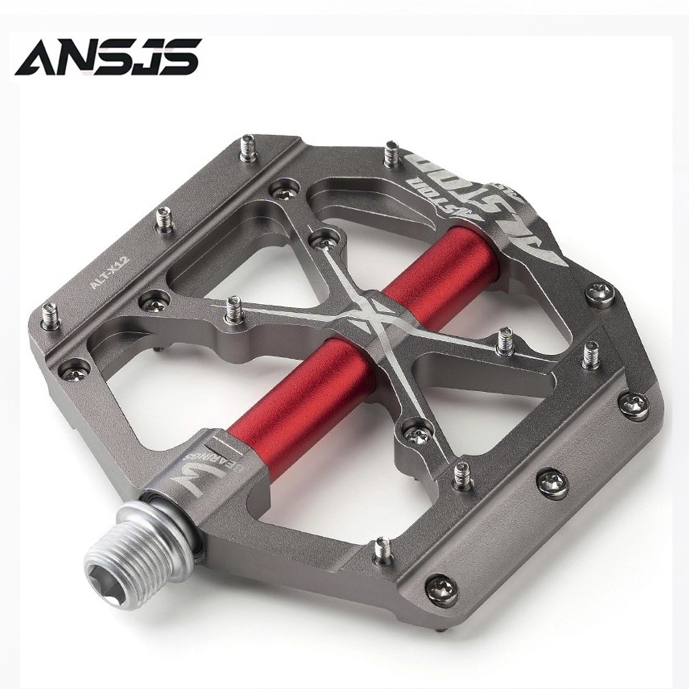 """Alston 3 Bearings Mountain Bike Pedals Platform Bicycle Flat Alloy Pedals 9/16"""" Pedals Non-Slip Alloy Flat Pedals"""