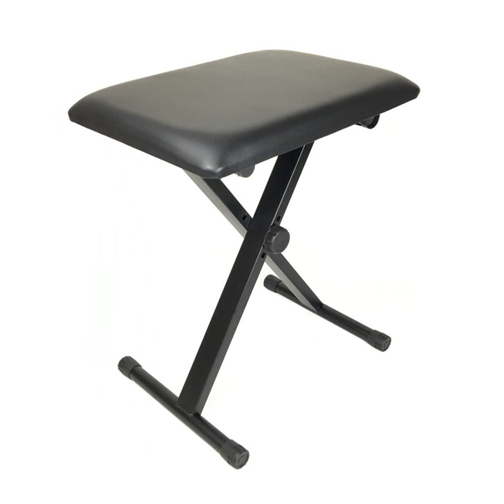 Adjustable Piano Keyboard Bench Leather Padded Seat Folding Stool Chair Black