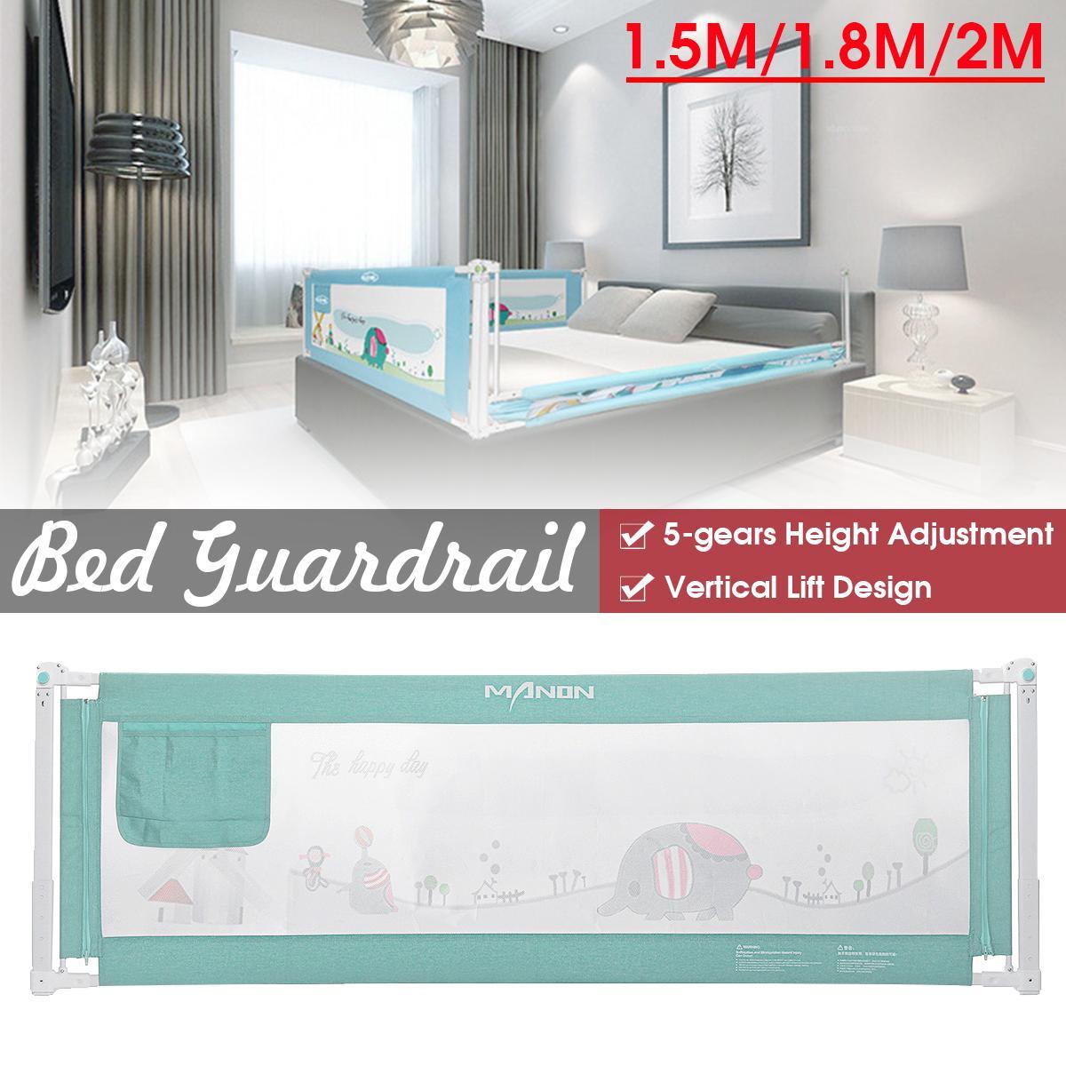 1.5M/1.8M/2M Green Baby Children Safety Fence Bed Guardrail Bumper Crib Rails