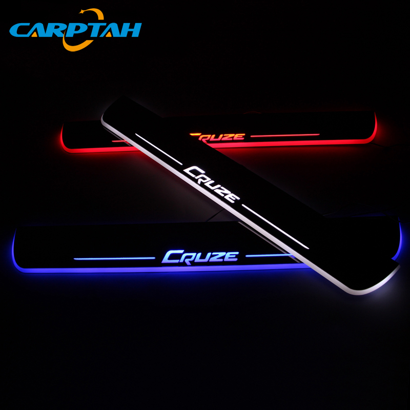 CARPTAH Trim Pedal Car Exterior Parts LED Door Sill Scuff Plate Pathway Dynamic Streamer light For Chevrolet Cruze 2009 - 2018