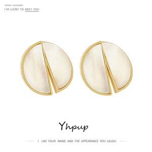 Yhpup модные круглые серьги-гвоздики из натурального сплава для женщин, ювелирные изделия из цинкового сплава, высококачественные серьги Aros ...
