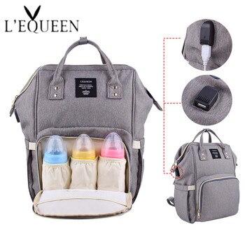 Lequeen, bolsas de pañales Usb, bolsa de pañales grande, mochila de viaje de moda, mochila de maternidad impermeable, bolsas de mamá con 2 uds de gancho