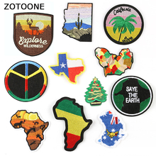 ZOTOONE Map Embroidered Iron on Patches Creative Badges Outdoor Parches for Clothing Backpack DIY Stripes Clothes Stickers I russia logo letter embroidered patches for clothing diy stripes applique clothes stickers iron on creative badges biker parches