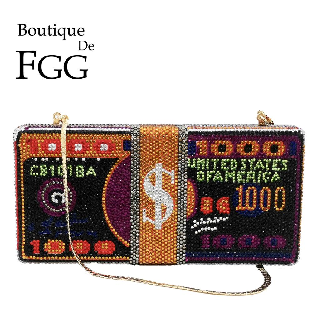 Boutique De FGG Stack Of Cash Funny Money Bag Women Crystal Box Clutch Evening Bags Ladies Cocktail Party Purses And Handbags