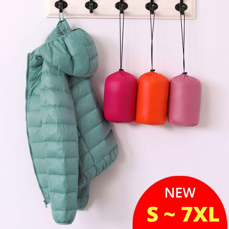Big Size Duck 7XL Ultra Light Down Winter Warm Hooded Feather Puffer Jacket For Girl Short Spring Autumn Coat Female Women Cheap
