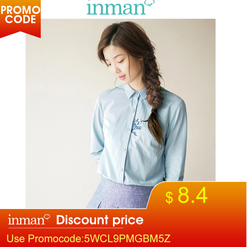INMAN Women's Spring Autumn Florals Cotton Embroidered Long Sleeves Shirt Blouse