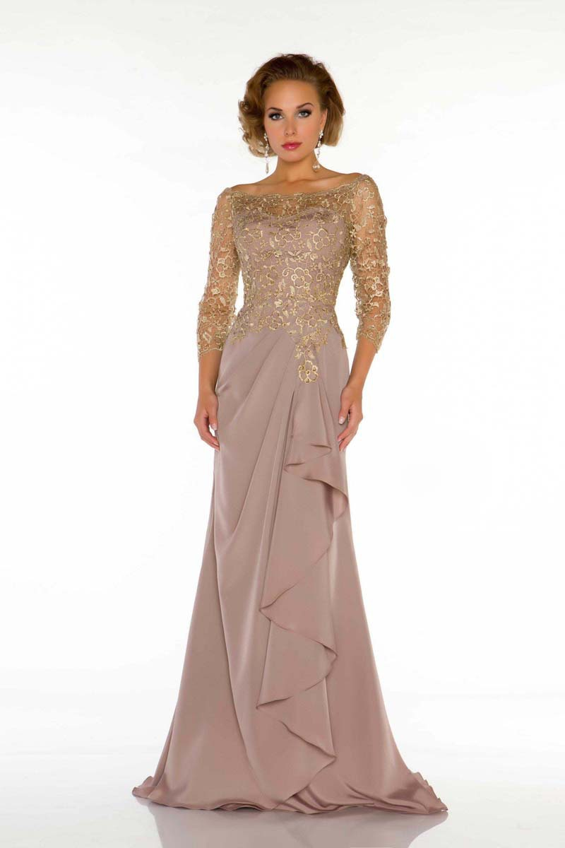 New 2014 Floor Length Appliques Brides Mother Dresses For Weddings Long Chiffon Mother Of The Bride Dresses With Sleeves 2014