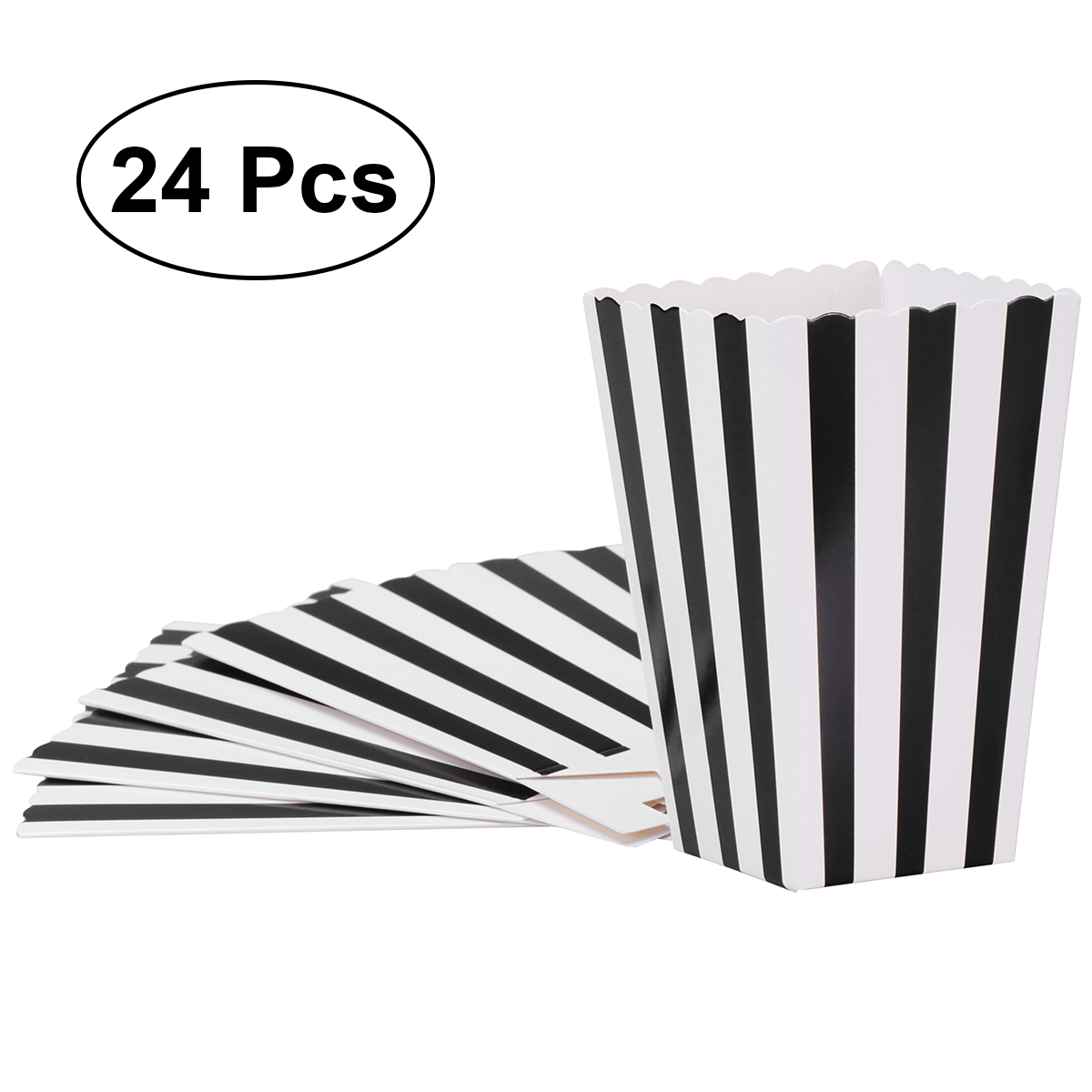 24pcs Paper Popcorn Boxes Bags Holder Containers Cartons Striped Popcorn Box Party Favors Supplies Movie Theater Kids Children Gift Bags Wrapping Supplies Aliexpress